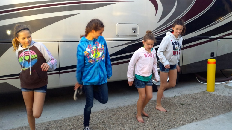...and when they stop to line dance amongst the RV's with us